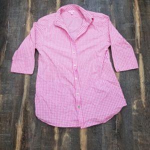 Lilly Pulitzer pink gingham shirt dress